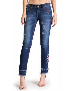 Grace In LA Women's Fray Hem Embroidery Leg Jeans , Indigo, hi-res