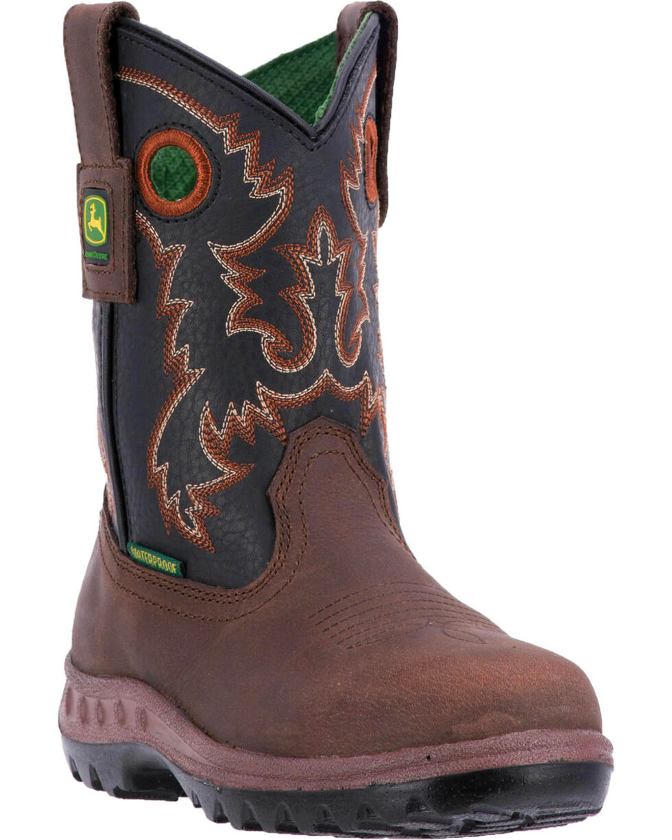 John Deere Boys' Popper Waterproof Cowboy Boots - Round Toe , Black, hi-res