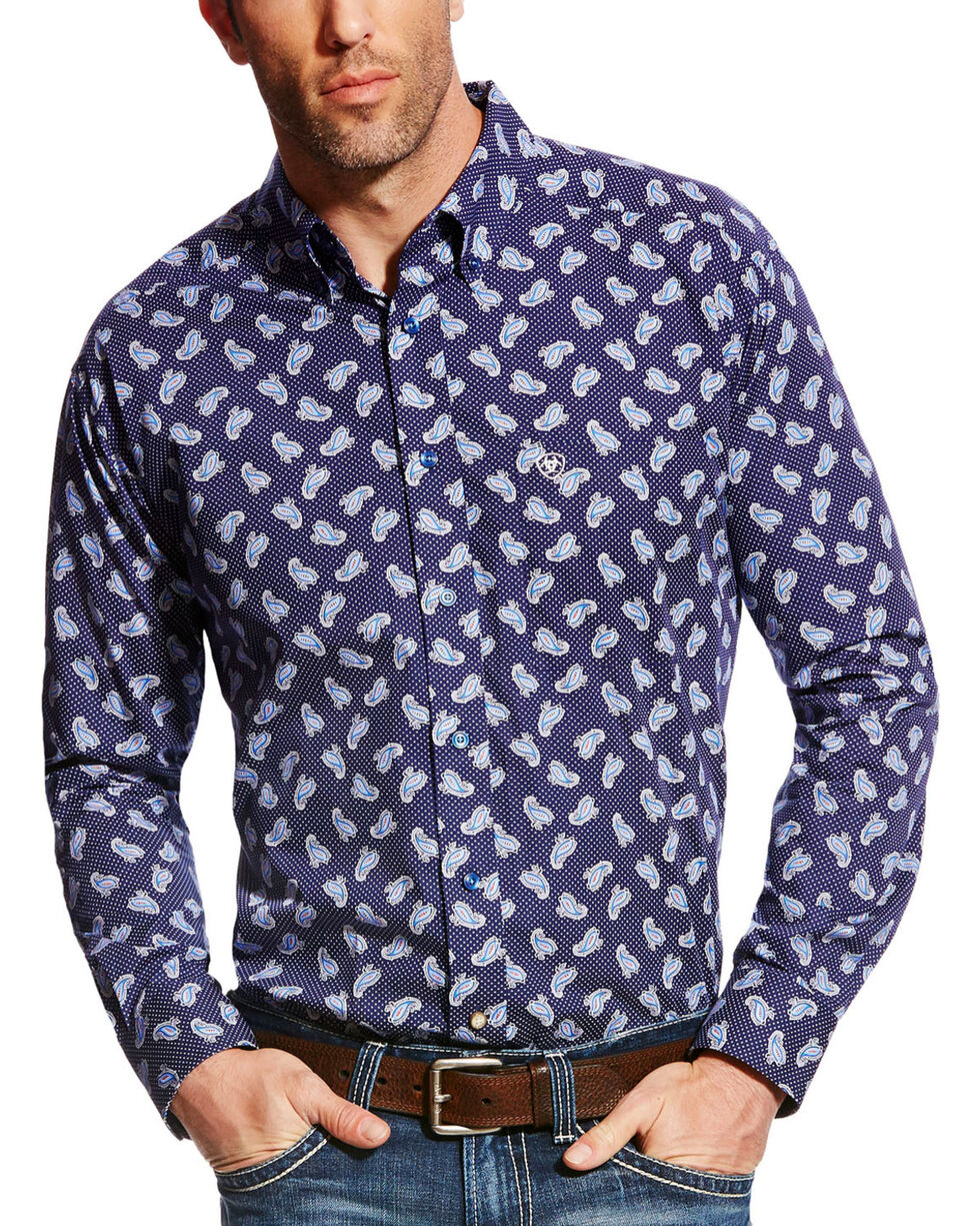 Ariat Men's Navy Duval Print Western Shirt - Big & Tall , Navy, hi-res