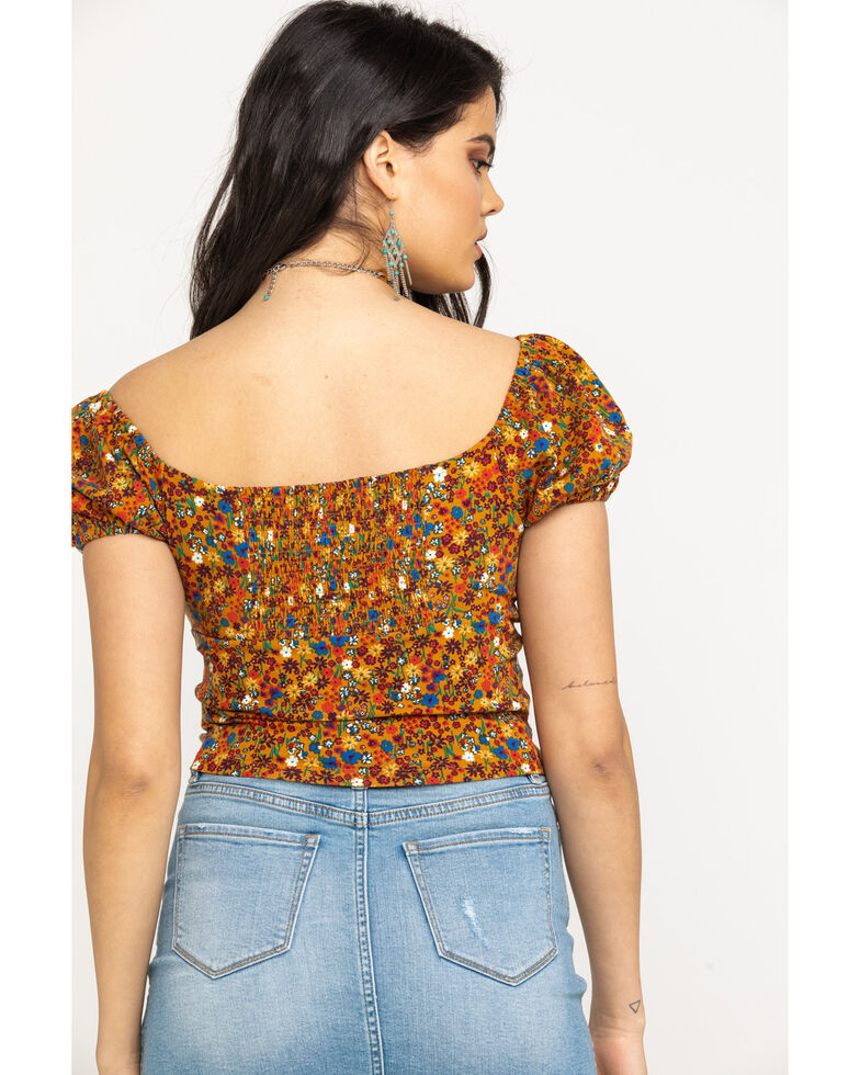 Eyeshadow Women's Cognac Floral Cropped Peasant Top, Cognac, hi-res