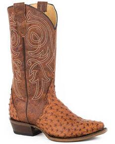 Roper Women's Cognac Ostrich Western Boots - Snip Toe, Brown, hi-res