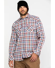 Ariat Men's FR Granite Retro Plaid Long Sleeve Work Shirt , Navy, hi-res