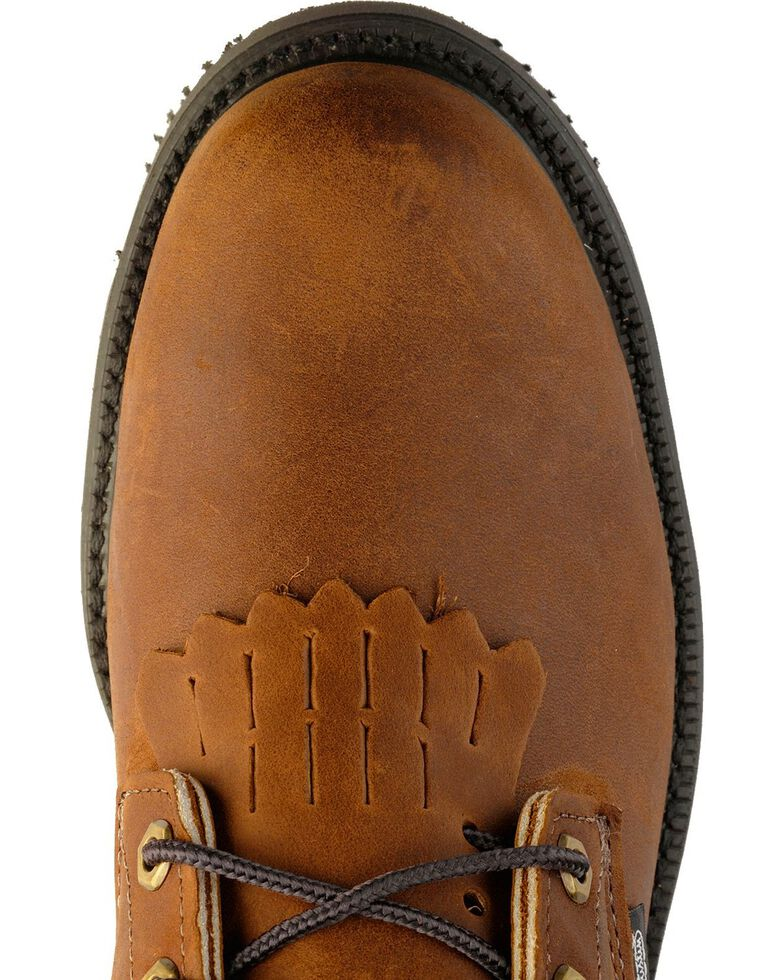 """Justin Men's Double Comfort 8"""" Lace-Up Work Boots, Bark, hi-res"""