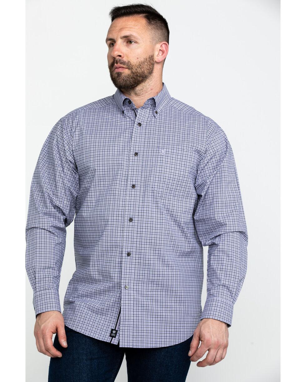 Ariat Men's Mo Stretch Small Plaid Long Sleeve Western Shirt , Purple, hi-res