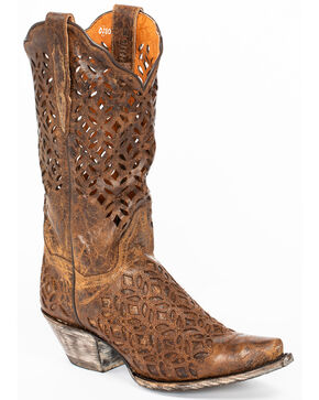 Dan Post Women's Peek-A-Boo Western Boots - Snip Toe, Brown, hi-res