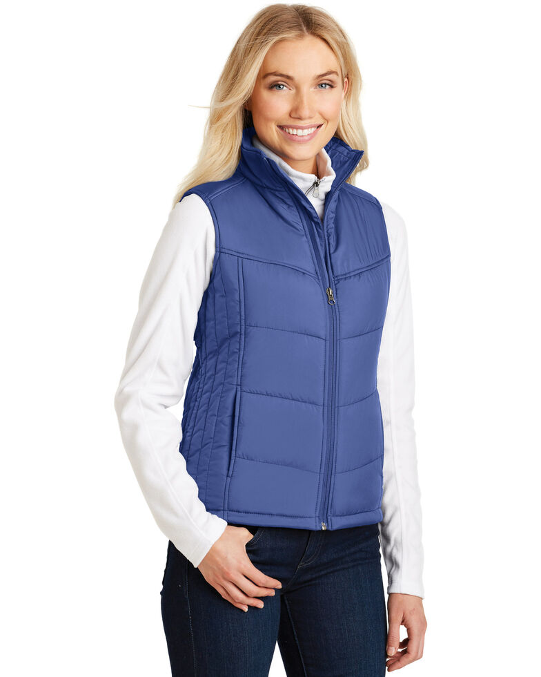 Port Authority Women's Mediterranean Blue 2X Puffy Vest - Plus, Multi, hi-res