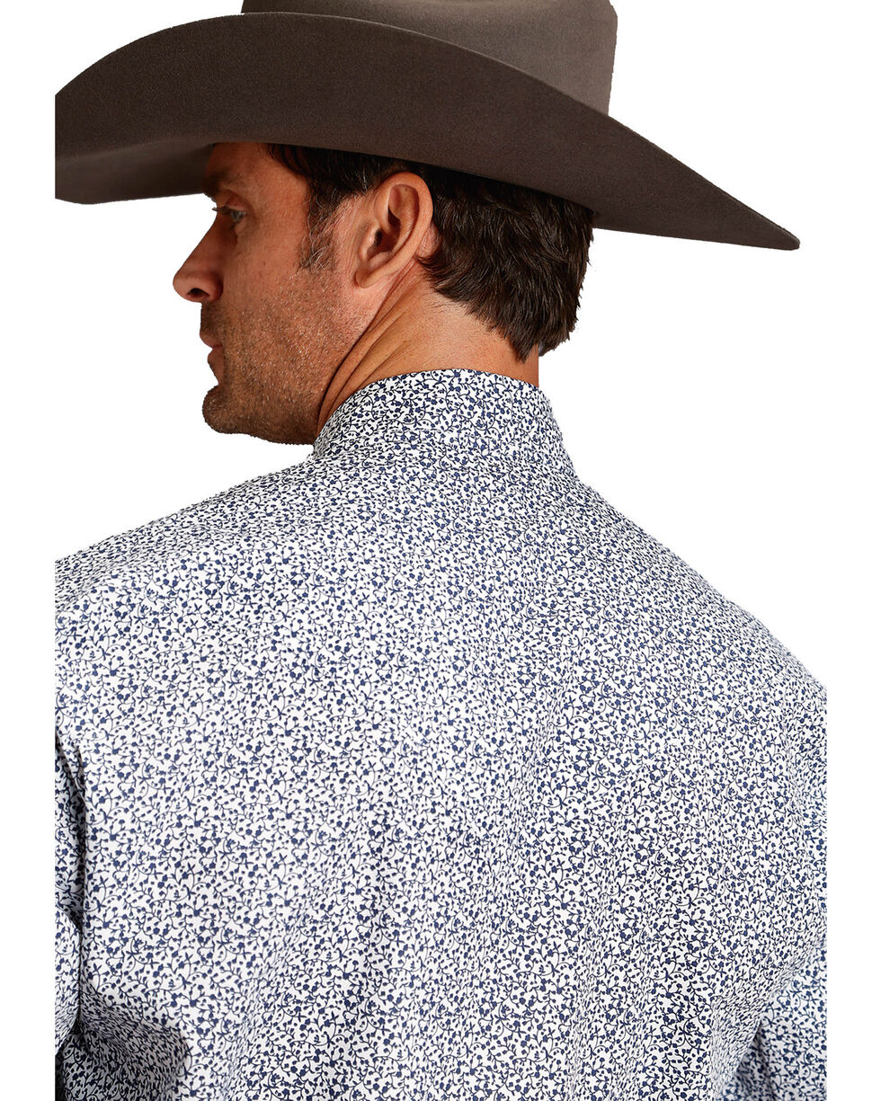 Roper Men's Blue Small Floral Print Long Sleeve Western Shirt , Blue, hi-res