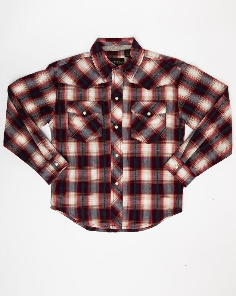 West Made Boys' Red Rock Dobby Plaid Long Sleeve Western Shirt , Red, hi-res