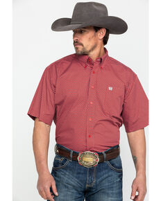 Cinch Men's Red Tencel Geo Print Short Sleeve Western Shirt - Big & Tall , Red, hi-res