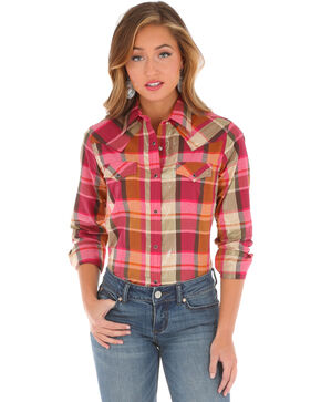Wrangler Women's Metallic Plaid Long Sleeve Shirt , Pink, hi-res