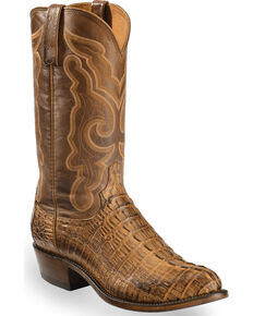 Lucchese Men's Handmade Tan Franklin Hornback Caiman Tail Boots - Medium Toe , Tan, hi-res