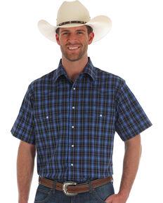Wrangler Men's Wrinkle Resistant Blue Med Plaid Short Sleeve Western Shirt , Blue, hi-res