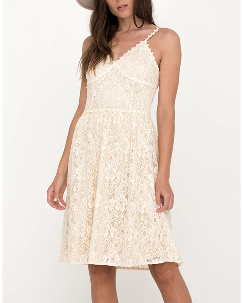 Miss Me Women's Ivory Lace Bustier Dress, Ivory, hi-res