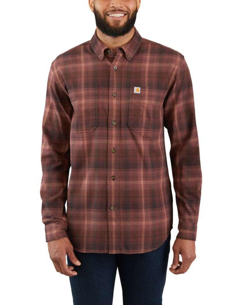 Carhartt Men's Rugged Flex Hamilton Plaid Long Sleeve Work Shirt , Brown, hi-res