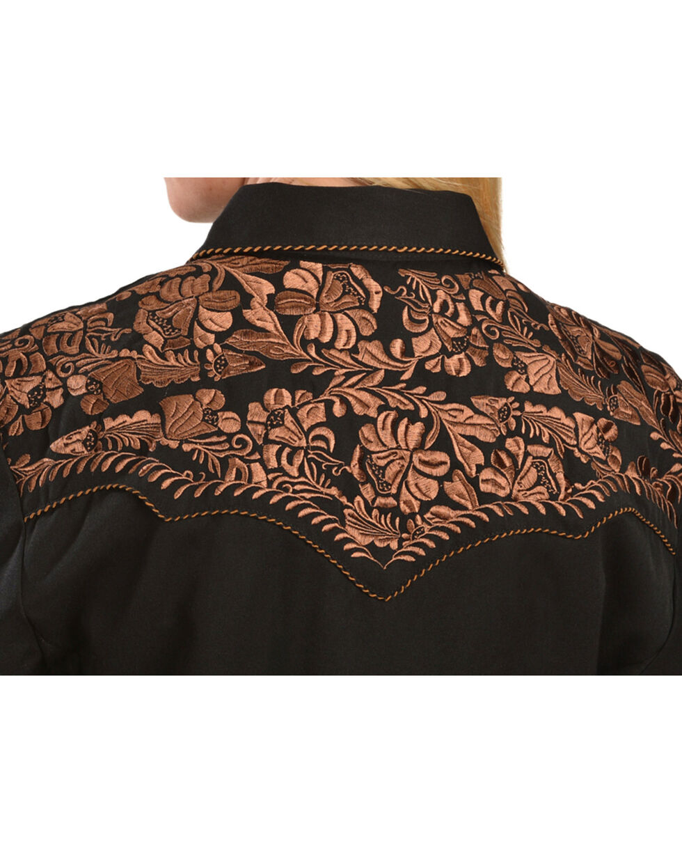 Scully Women's Floral Embroidered Long Sleeve Western Shirt, Black, hi-res