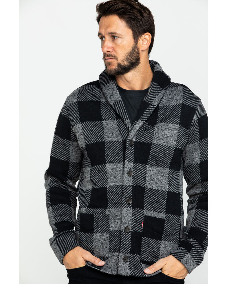 Levi's Men's Trouss Buffalo Check Plaid Fleece Sweatshirt , Charcoal, hi-res