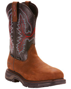 Ariat Men's Dark Brown Workhog XT H20 Boots - Carbon Toe, Brown, hi-res