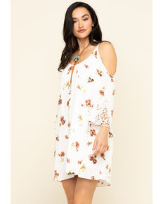 Nikki Erin Women's Ivory Floral Cold Shoulder Shift Dress, Ivory, hi-res