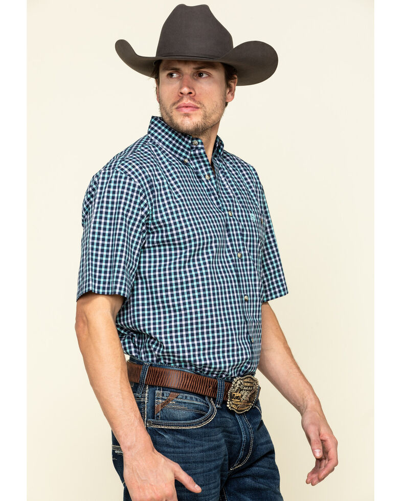 George Strait By Wrangler Men's Turquoise Small Plaid Short Sleeve Western Shirt - Tall , Turquoise, hi-res