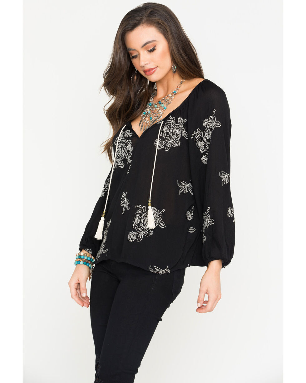Obsessive Love Women's Floral Embroidered Tassel Tie Long Sleeve Top, , hi-res