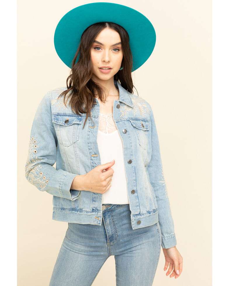 Johnny Was Women's Embroidered Iva Denim Jacket, Blue, hi-res