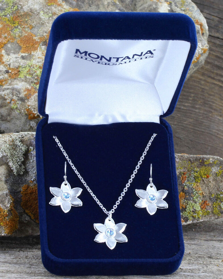 Montana Silversmiths Women's Blue Flower Jewelry Set , Silver, hi-res