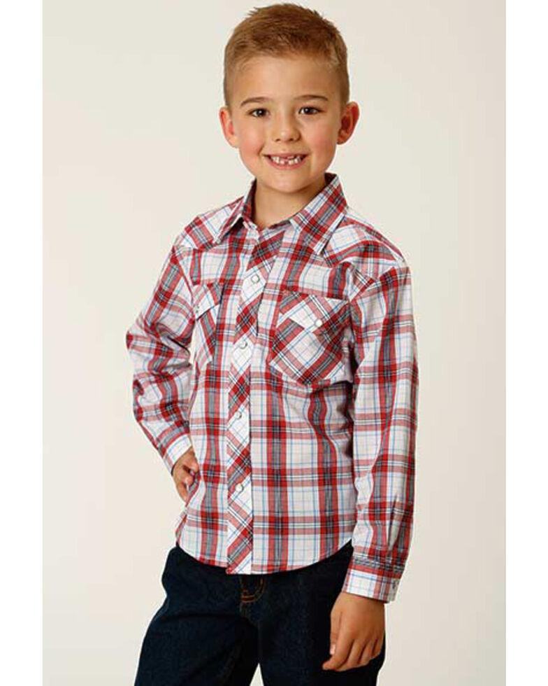 Roper Boys' Classic Red Plaid Long Sleeve Snap Western Shirt , White, hi-res