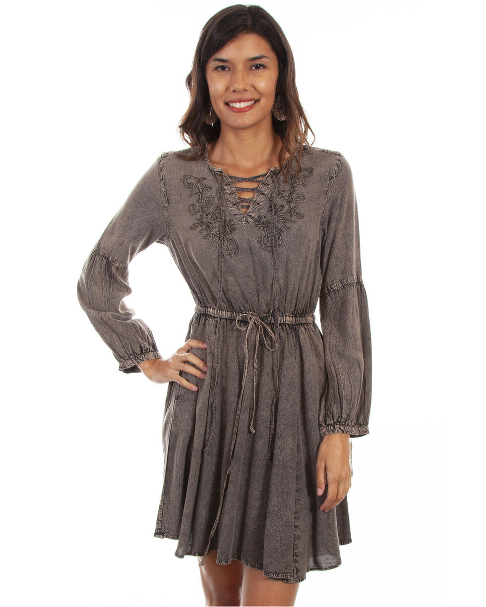 Honey Creek by Scully Women's Acid Wash Bell Sleeve Dress, , hi-res