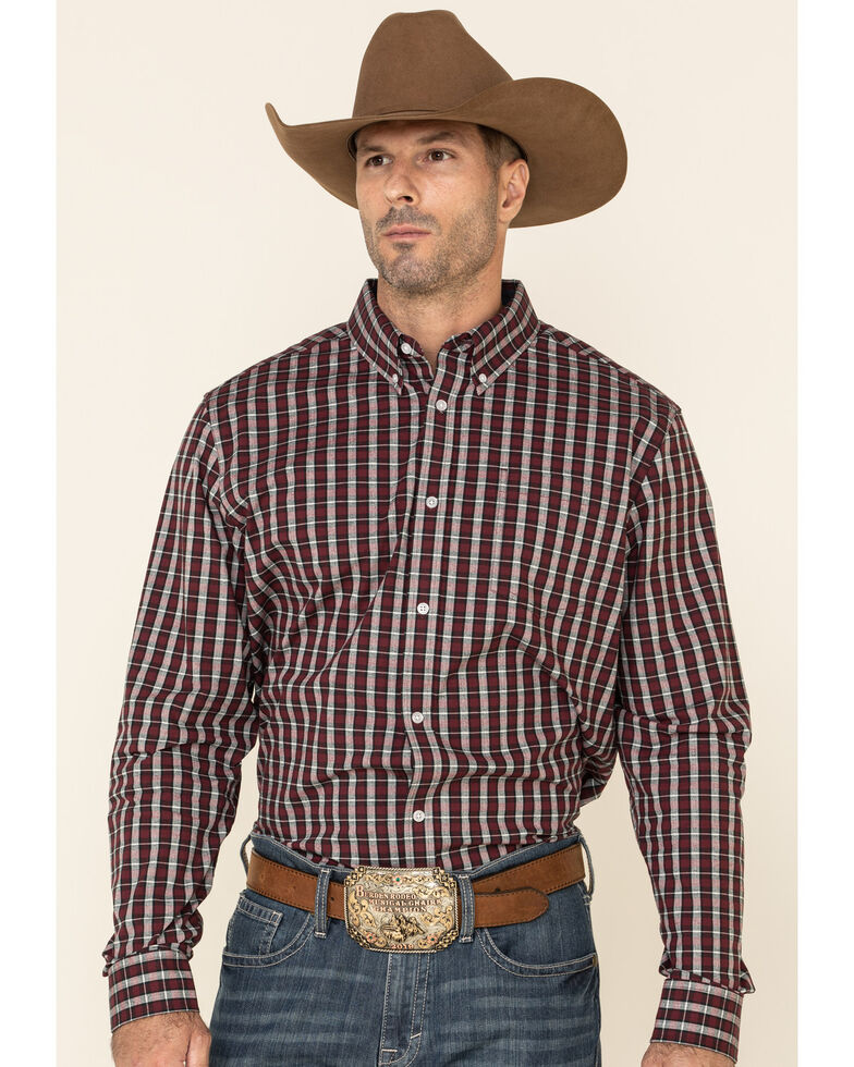 Cody James Core Men's Grapevine Plaid Long Sleeve Western Shirt , Burgundy, hi-res
