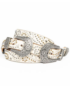 Idyllwind Women's Vegas Double Stud Belt, White, hi-res