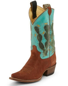 Justin Women's Pearce'd Tobacco Western Boots - Narrow Square Toe, Turquoise, hi-res