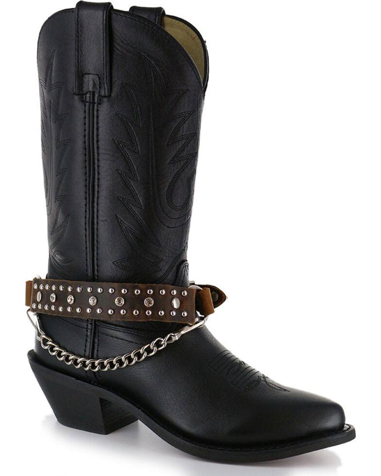 Almax Women's Studded Leather Boot Bracelet , Brown, hi-res