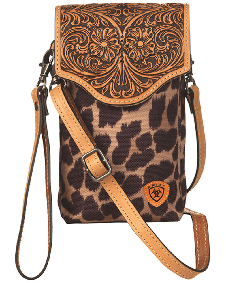 Ariat Women's Leopard Tooled Crossbody Cellphone Bag, No Color, hi-res