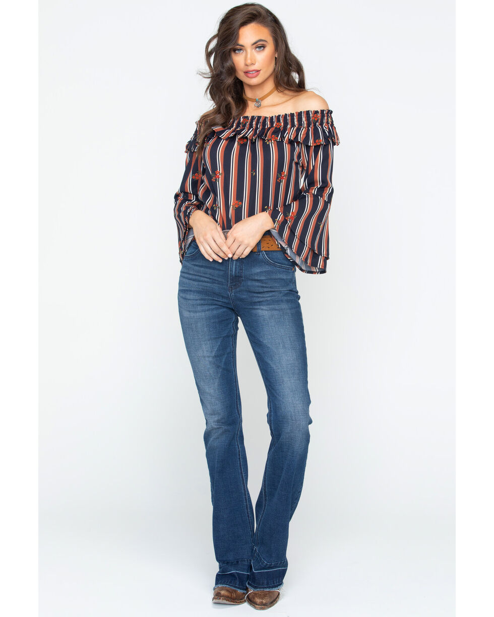 Miss Me Women's Stripe Off The Shoulder Top , Black/brown, hi-res