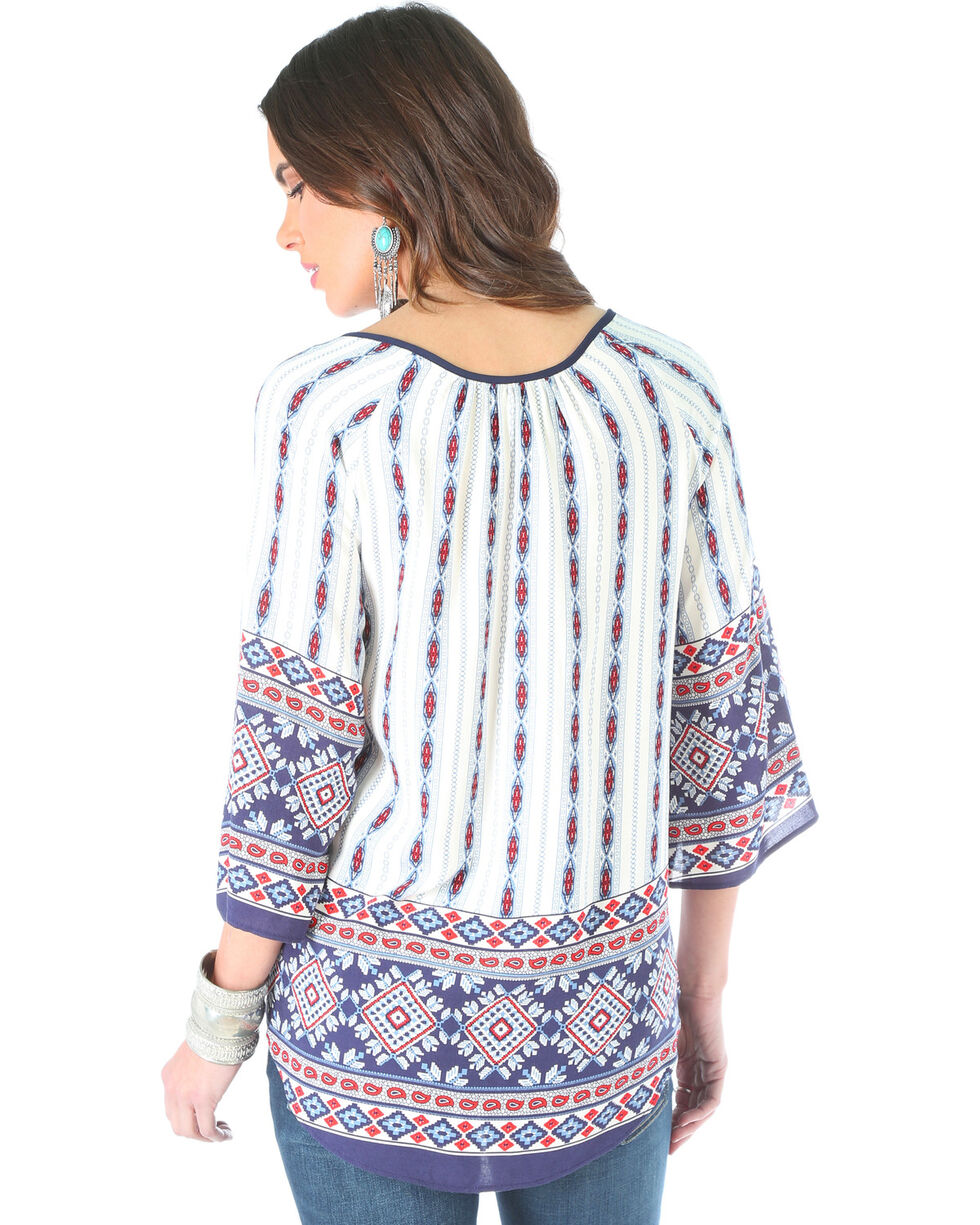Wrangler Women's Long Sleeve Geometric Print Top, Red/white/blue, hi-res
