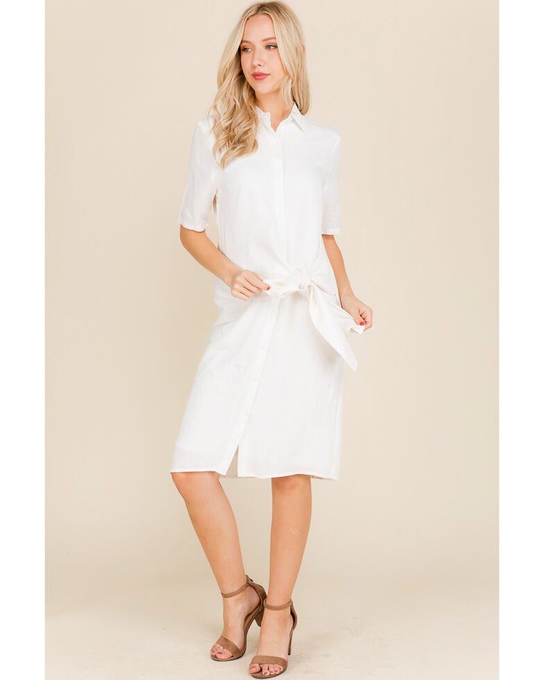 Polagram Women's White Tie Waist Shirt Dress, White, hi-res