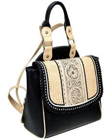 Trinity Ranch Women's Beige Tooled leather Backpack, Beige/khaki, hi-res