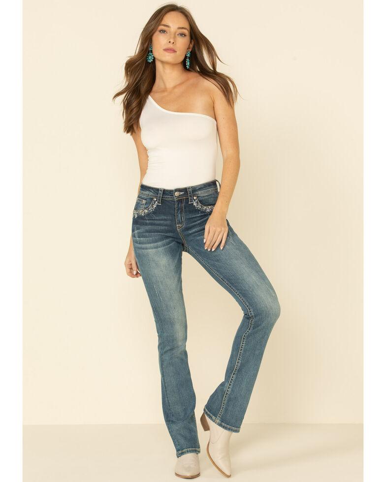 Grace in LA Women's Flap Pocket Embroidery Bootcut Jeans, Blue, hi-res