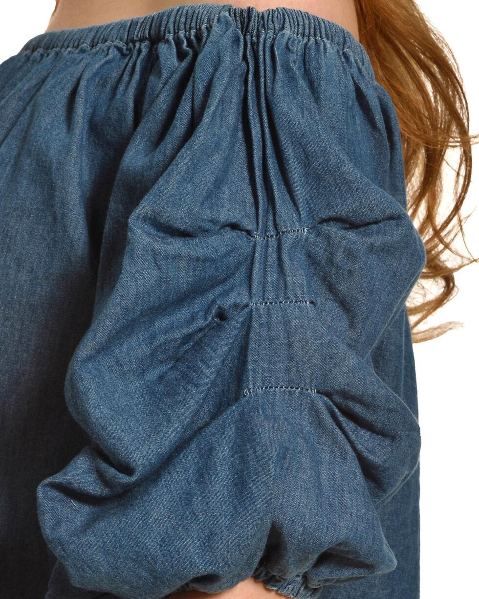 Derek Heart Women's Denim Off Shoulder Top , Indigo, hi-res