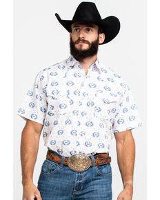 Ely Cattleman Men's Assorted Aztec Print Snap Short Sleeve Western Shirt , Multi, hi-res