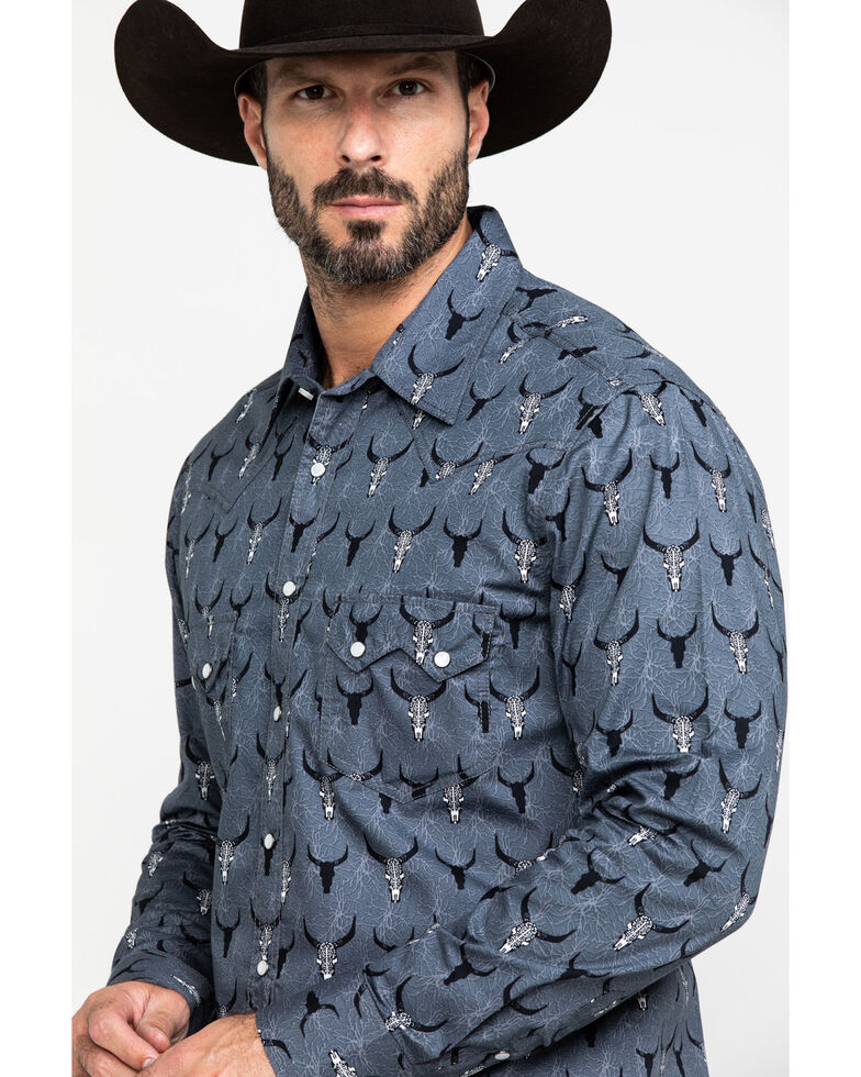 Dale Brisby Men's Bull Skull Geo Print Long Sleeve Western Shirt , Black, hi-res