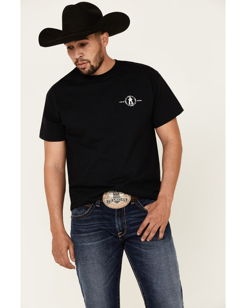 Cowboy Up Men's I Bleed Red White & Blue Graphic T-Shirt , Black, hi-res