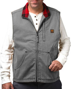 Walls Men's Vintage Fleece Lined Vest, Grey, hi-res