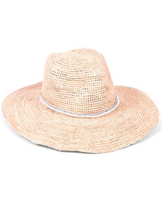 ále by Alessandra Women's Cody Beaded Band Crochet Raffia Hat, White, hi-res