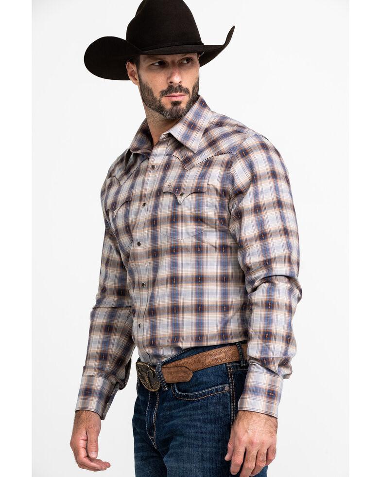 Stetson Men's Dobby Med Plaid Long Sleeve Western Shirt , Brown, hi-res