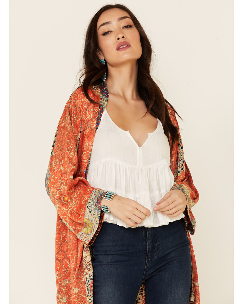 Johnny Was Women's Rust Cameron Reversible Silk Open Kimono, Rust Copper, hi-res