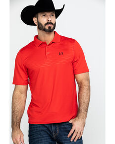Cinch Men's Red Arena Flex Short Sleeve Polo Shirt , Red, hi-res