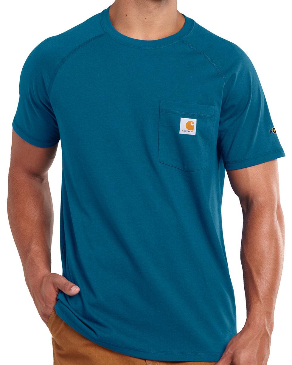 Carhartt Men's Blue Force Cotton Delmont Short Sleeve T-Shirt, Blue, hi-res