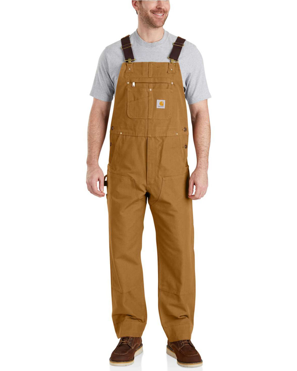 Carhartt Men's Brown Duck Bib Work Overalls  , Brown, hi-res