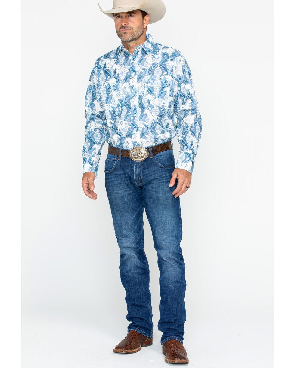 Wrangler Men's Checotah Horse Print Dress Shirt , Blue, hi-res